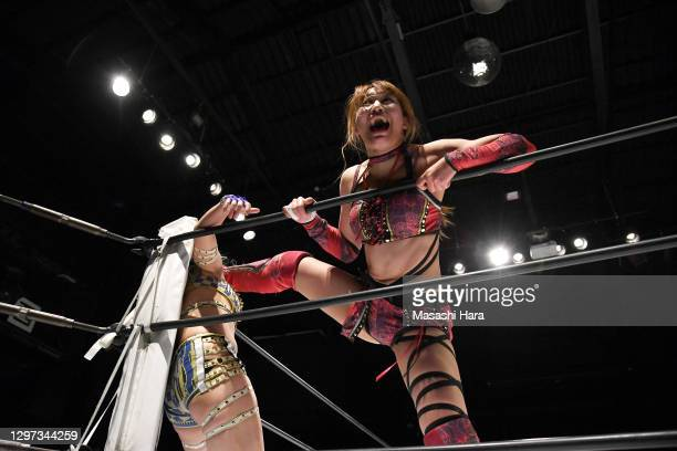 Syuri and Momo Watanabe compete during the Women's Pro-Wrestling 'Stardom' at the Shinkiba 1st Ring on January 03, 2021 in Tokyo, Japan.