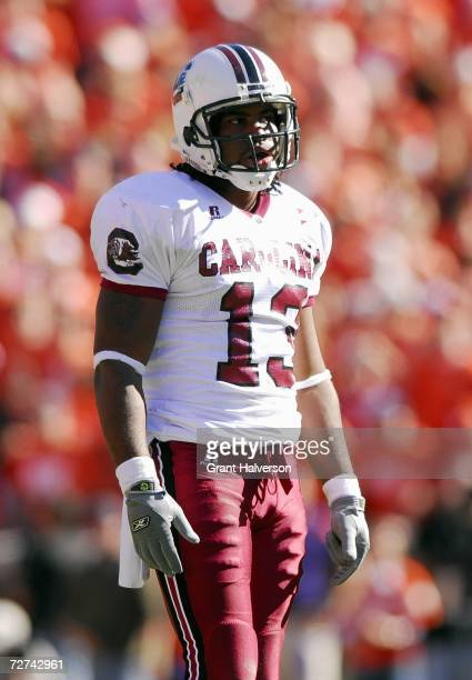 Syvelle Newton of the South Carolina Gamecocks stands on the field during the game against the Clemson Tigers at Memorial Stadium on November 25,...