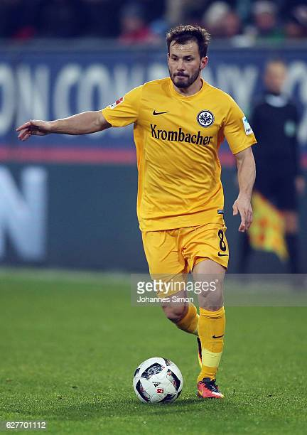 Szabolcs Huszti of Frankfurt in action during the Bundesliga match between FC Augsburg and Eintracht Frankfurt at WWK Arena on December 4 2016 in...