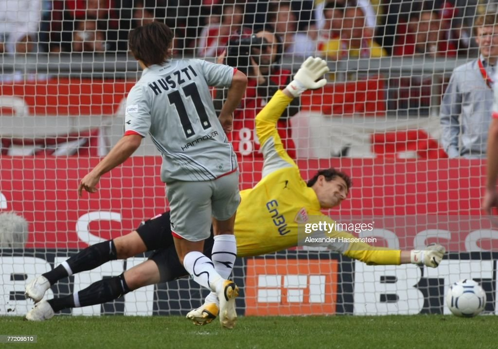 Szabolcs Huszti of Hannover (L) scores the first goal during the Bundesliga match between VfB Stuttgart and Hannover 96 at the Gottlieb-Daimler-Stadium on October 06, 2007 in Stuttgart, Germany.