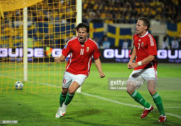 Szabolcs Huszti of Hungary celebrates after scoring from the penalty spot during the FIFA2010 World Cup Qualifier match between Hungary and Sweden at...