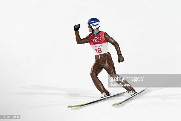 Szczepan Kupczak of Poland jumps during the Nordic Combined Individual Gundersen Large Hill Ski Jumping competition round on day eleven of the...
