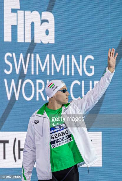Szebasztian Szabó of Hungary looks before he competes in the Men's 50m butterfly on the FINA Swimming World Cup held at Duna Arena Swimming Stadium...
