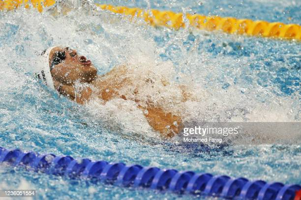 Szebasztian Szabo of Hungary competes in the Men's 50m Individual Backstroke during day Two of the FINA Swimming World Cup Doha at Hamad Aquatic...