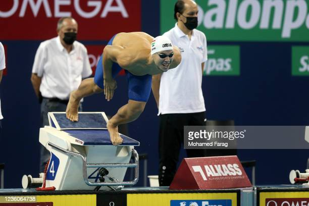 Szebasztian Szabo of Hungary competes in the Men's 50m Individual Butterfly Heats during day Three of the FINA Swimming World Cup Doha at Hamad...