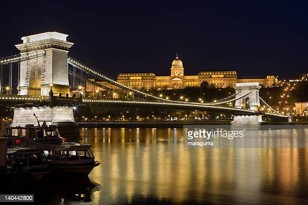 szechenyi chain bridge and royal palace - royal palace budapest stock pictures, royalty-free photos & images