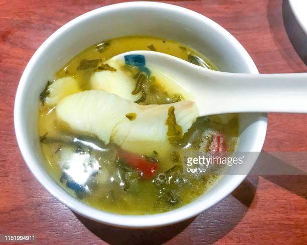 szechwan cuisine suāncài yú ready to eat - フラットフィッシュ ストックフォトと画像