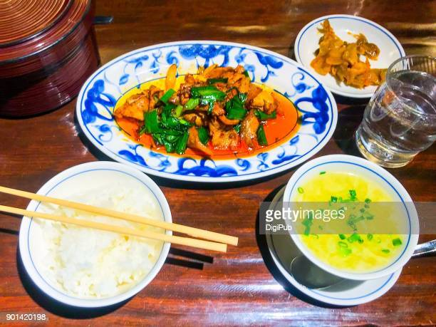 Szechwan Hui-Guo-Rou (double cooked pork) lunch meal
