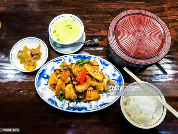 Szechwan style spicy squid stir-frying lunch meal taken in Yokohama Minato Mirai