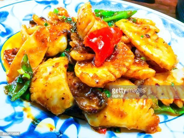 Szechwan style spicy stir fried squid