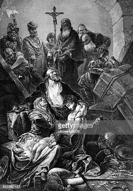 Szene aus der Zeit der Verfolgung der Juden in Spanien um 1490Stich ne Gemälde vom Mv Zichy