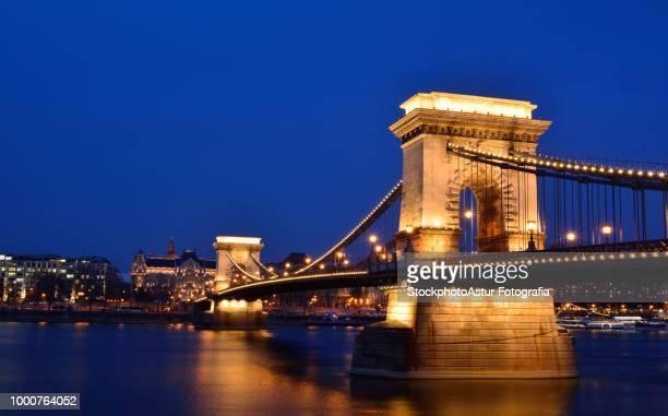 Szhenyi Chain bridge over Danube river, Budapest, Hungary.