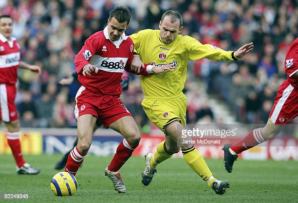 Szilard Nemeth of Middlesbrough battles with Danny Murphy of Charlton during the Barclays Premiership match between Middlesbrough v Charlton Athletic...