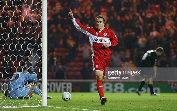 Szilard Nemeth of Middlesbrough celebrates his goal during the Carling Cup Fourth Round match between Middlesbrough and Crystal Palace at the...