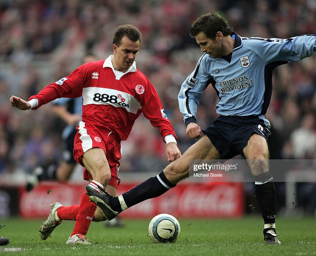 Szilard Nemeth of Middlesbrough drags the ball past Claus Lundekvam during the Barclays Premiership match between Middlesbrough and Southampton at the Riverside Stadium on March 20, 2005 in Middlesbrough, England