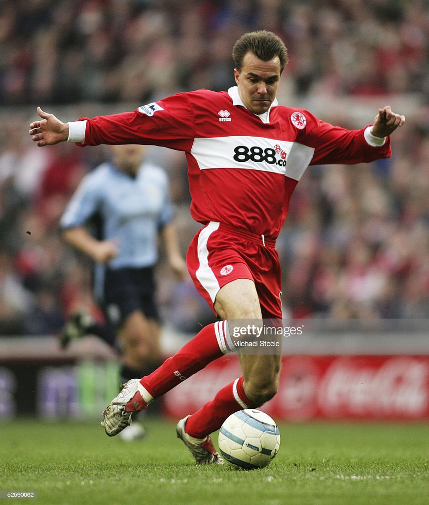 Szilard Nemeth of Middlesbrough in action during the Barclays Premiership match between Middlesbrough and Southampton at the Riverside Stadium on March 20, 2005 in Middlesbrough, England