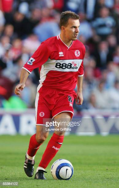 Szilard Nemeth of Middlesbrough in action during the Barclays Premiership match between Middlesbrough and Liverpool on August 13 2005 in...