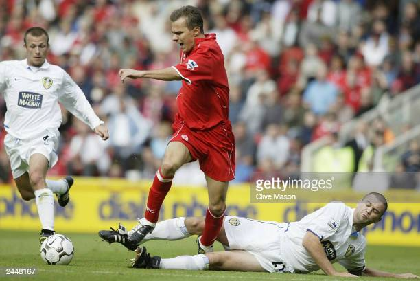 Szilard Nemeth of Middlesbrough is tackled by Dominic Matteo of Leeds United during the FA Barclaycard Premiership match between Middlesbrough and...