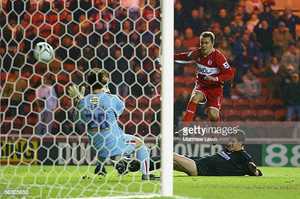 Szilard Nemeth of Middlesbrough scores his teams second goal during the Carling Cup Fourth Round match between Middlesbrough and Crystal Palace at...