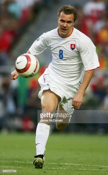 Szilard Nemeth of Slovakia in action during the 2006 World Cup Group 3 qualification match between Portugal and Slovakia at the Estadio da Luz on...