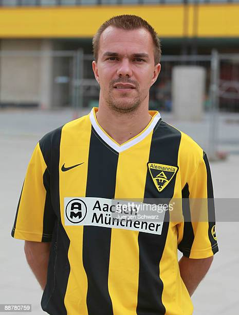 Szilard Nemeth poses for the photographer during the Second Bundesliga team presentation of Alemannia Aachen at the Tivoli on July 1 2009 in Aachen...