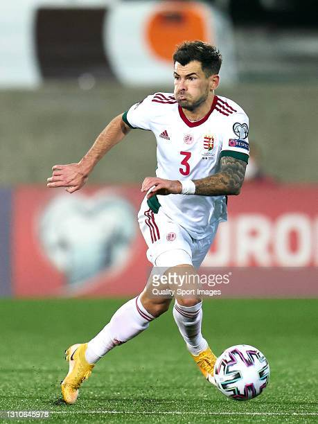 Szilveszter Hangya of Hungary controls the ball during the FIFA World Cup 2022 Qatar qualifying Group I match between Andorra and Hungary on March...
