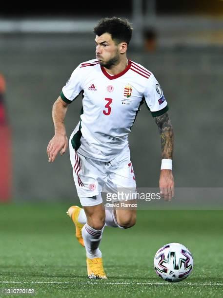 Szilveszter Hangya of Hungary runs with the ball during the FIFA World Cup 2022 Qatar qualifying match between Andorra and Hungary at Estadi Nacional...