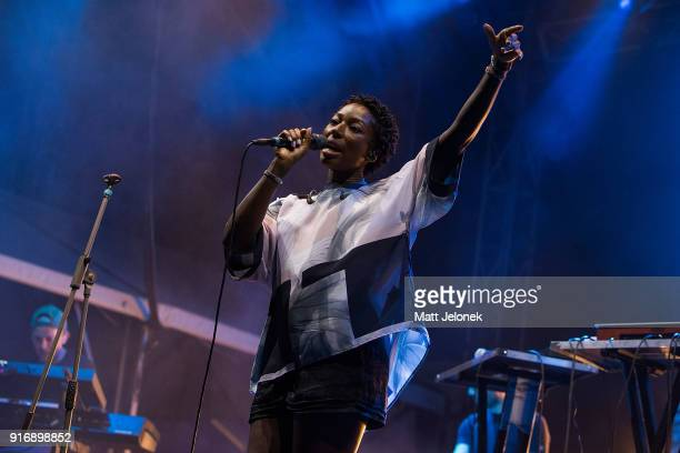 Szjerdene Mulcare performs with Simon Green known as Bonobo on stage at St Jerome's Laneway Festival on February 11 2018 in Fremantle Australia