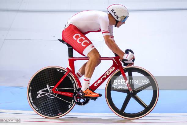 Szymon Sajnok Men`s omnium point race during the UCI Track Cycling World Championships in Apeldoorn on March 3 2018