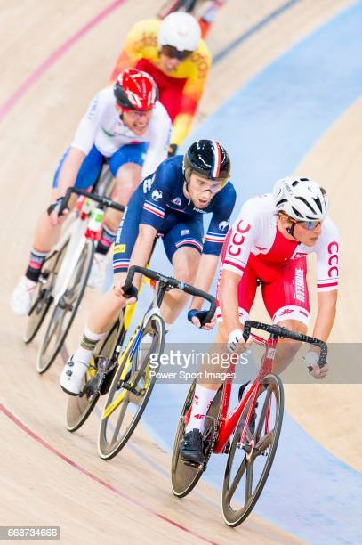 Szymon Sajnok of Poland and Benjamin Thomas of France compete in the Men's Omnium Scratch during 2017 UCI World Cycling on April 15 2017 in Hong Kong...