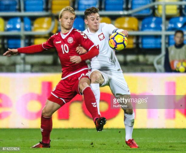 Szymon Zurkowski Kasper Dolberg during UEFA U21 Championship Qualifier match between Poland and Denmark on November 14 2017 in Gdynia Poland