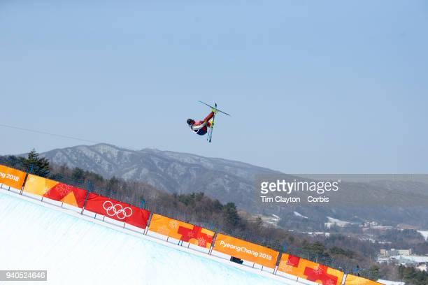 't David Wise from the United States in action during the Freestyle Skiing Men's Ski Halfpipe qualification at Phoenix Snow Park on February 20 2018...