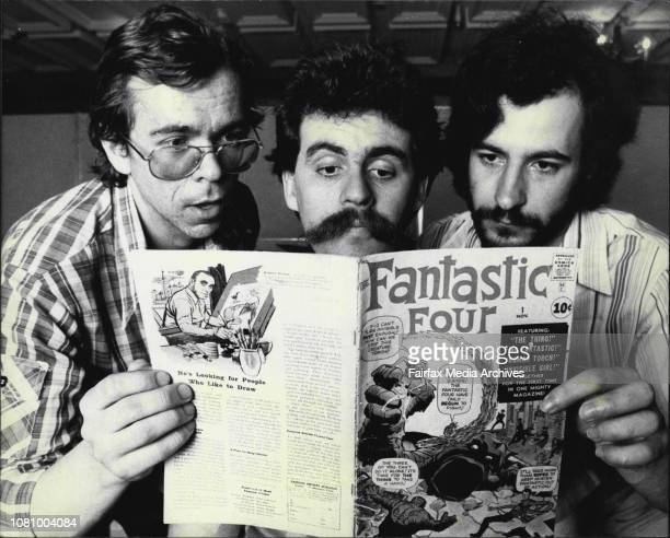 L t r Greg Gates Melb Glenn Ford Willoughby Syd and Joe Italiano of Mitchum Vic study Copy of Fantastic Four valued *****The 1981 Australian Comic...