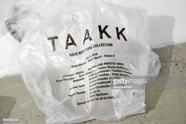 Taak branded plastic bag atr the Taakk presentation during July 2018 New York City Men's Fashion Week at Creative Drive on July 9 2018 in New York...