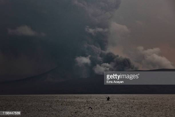 Taal Volcano erupts on January 13 2020 as seen from Balete Batangas province Philippines The Philippine Institute of Volcanology and Seismology...