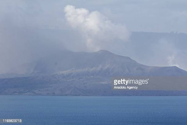 Taal volcano is seen as it is spewing fume in Batangas Philippines on January 15 2020