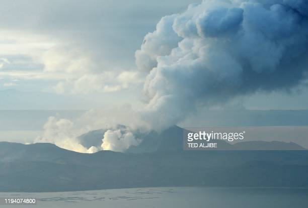 Taal volcano spews steam and ash as seen from Tagaytay City Philippines' Cavite province on January 17 2020 The threat of the Philippines' Taal...