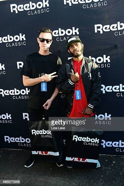 Taay Ninh and Anthony Coleman visit the Reebok booth during The 7th Annual Roots Picnic at Festival Pier at Penn's Landing on May 31 2014 in...