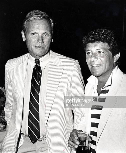 Tab Hunter Frankie Avalon during All Male Celebrity Fashion Show at The Beverly Wilshire Hotel in Beverly Hills CA United States