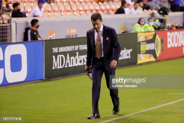 Tab Ramos head coach of the Houston Dynamo gets ejected from the game during the second half against the Sporting Kansas City at BBVA Stadium on May...