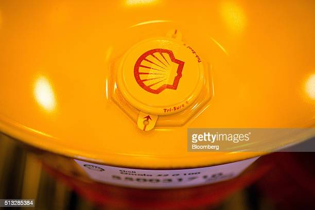 A tab seal cap sits on the top of an oil drum containing lubricant oil at the Royal Dutch Shell Plc lubricants blending plant in Torzhok Russia on...