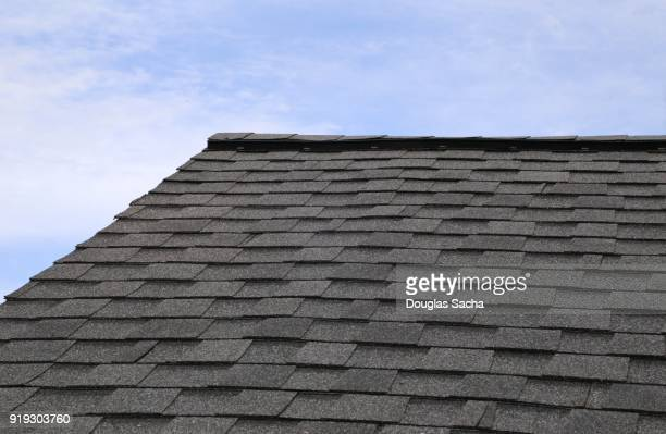 tab styled asphalt roof shingles - roof stock photos and pictures