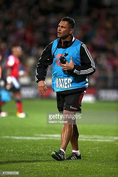 Tabai Matson Crusaders assistant coach and waterboy during the round 13 Super Rugby match between the Crusaders and the Reds at AMI Stadium on May 8...