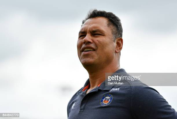 Tabai Matson Head Coach of Bath looks on prior to the Aviva Premiership match between Bath Rugby and Saracens at Recreation Ground on September 9...