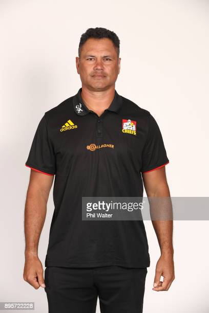 Tabai Matson poses during the Chiefs 2018 Super Rugby headshots session at Waikato Stadium on December 20 2017 in Hamilton New Zealand