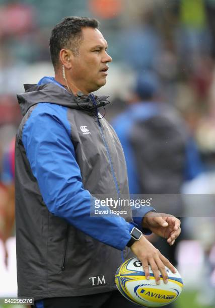 Tabai Matson the Bath first team coach looks on during the Aviva Premiership match between Leicester Tigers and Bath Rugby at Welford Road on...
