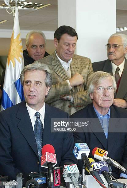 Tabare Vazquez lider del partido de izquierda Frente AmplioEncuentro Progresista brinda una conferencia de prensa junto al senador Danilo Astori el...