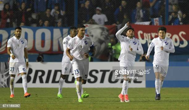 Tabare Viudez of Nacional celebrates his score the third of his team during a match between Nacional and Chapecoense as part of Copa CONMEBOL...