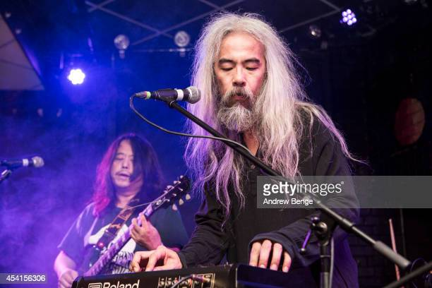 Tabata Mitsuru and Hiroshi Higashi of Acid Mothers Temple perform on stage at Brudenell Social Club on August 25 2014 in Leeds United Kingdom