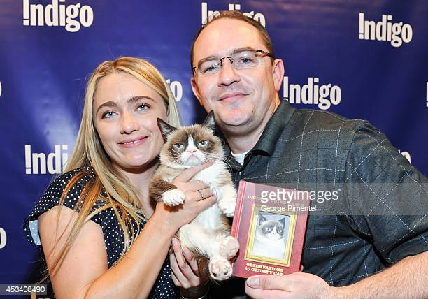 Tabatha Bundesen Grumpy Cat and Bryan Bundesen attend the Grumpy Guide To Life Observations From Grumpy Cat Book Event At Indigo at Eaton Centre...
